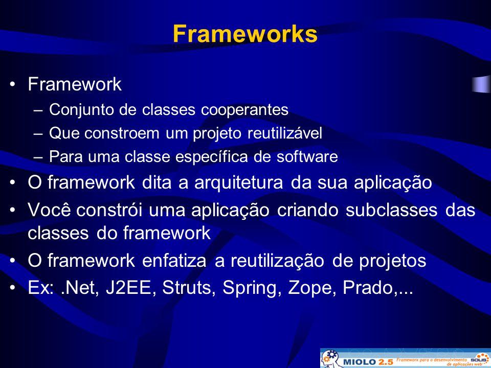 Frameworks •Framework –Conjunto de classes cooperantes –Que constroem um projeto reutilizável –Para uma classe específica de software •O framework dit
