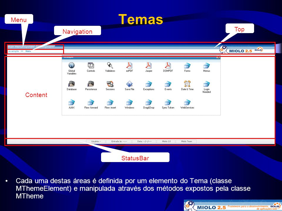 Temas • Cada uma destas áreas é definida por um elemento do Tema (classe MThemeElement) e manipulada através dos métodos expostos pela classe MTheme T