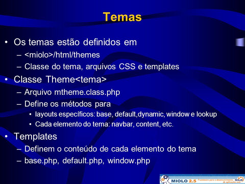 Temas •Os temas estão definidos em – /html/themes –Classe do tema, arquivos CSS e templates •Classe Theme –Arquivo mtheme.class.php –Define os métodos
