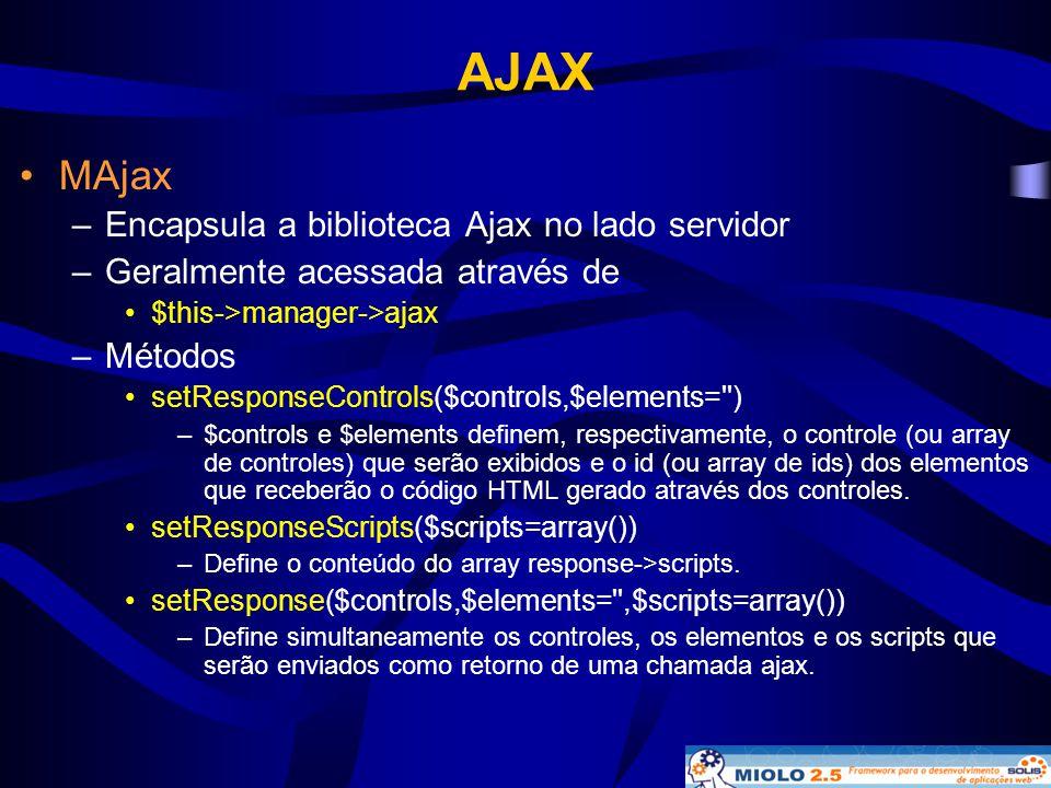 AJAX •MAjax –Encapsula a biblioteca Ajax no lado servidor –Geralmente acessada através de •$this->manager->ajax –Métodos • setResponseControls($contro