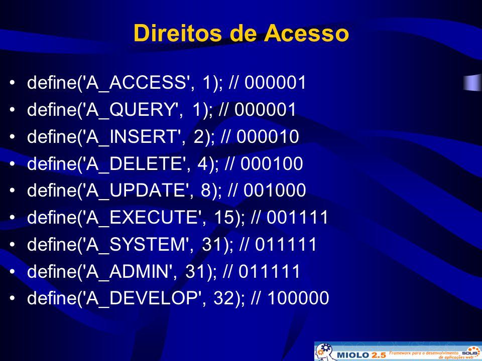 Direitos de Acesso •define('A_ACCESS', 1); // 000001 •define('A_QUERY', 1); // 000001 •define('A_INSERT', 2); // 000010 •define('A_DELETE', 4); // 000