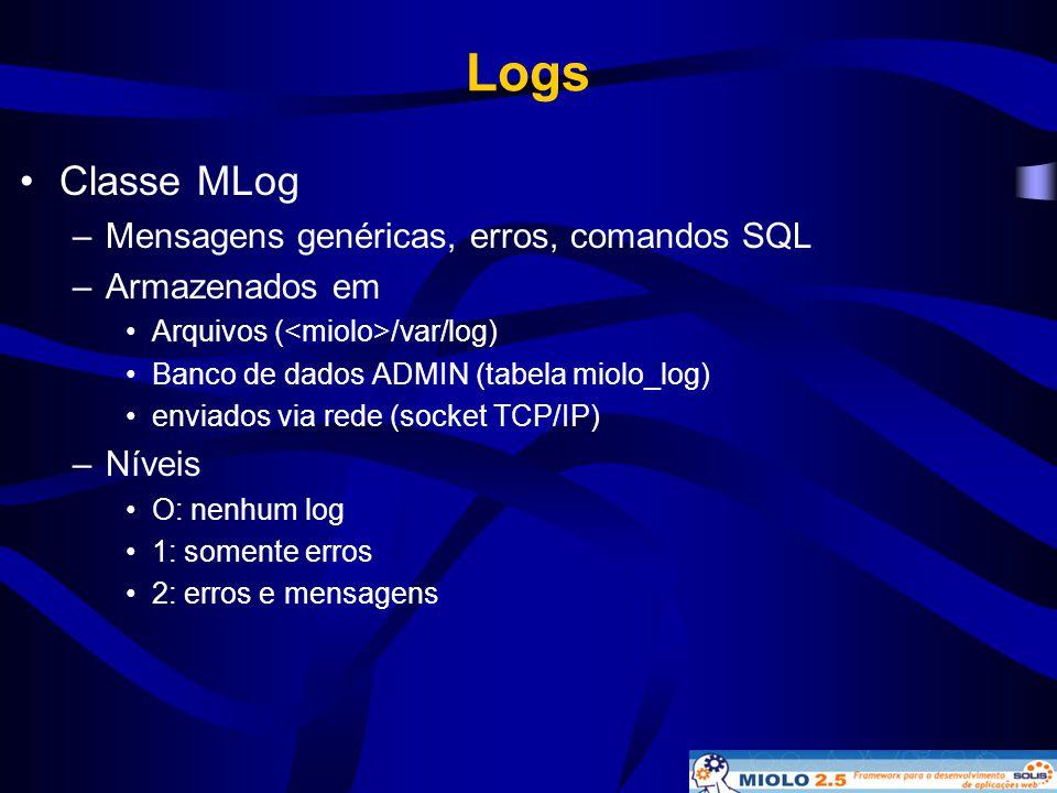 Logs •Classe MLog –Mensagens genéricas, erros, comandos SQL –Armazenados em •Arquivos ( /var/log) •Banco de dados ADMIN (tabela miolo_log) •enviados v