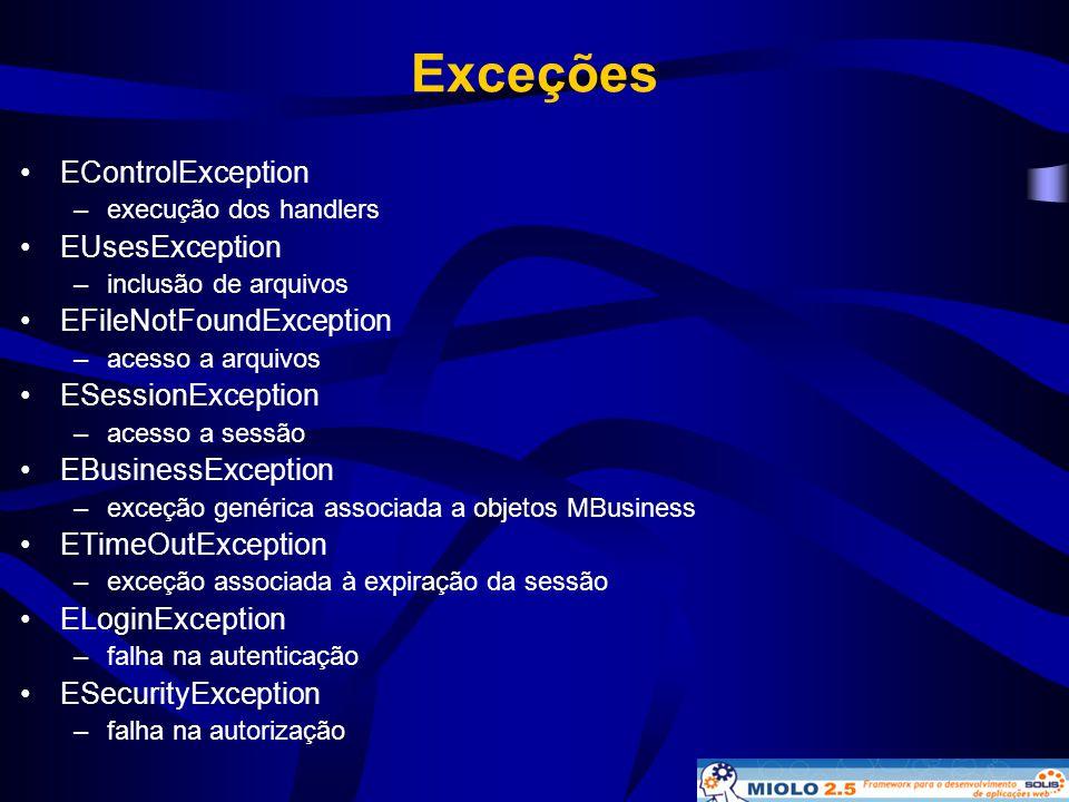 Exceções •EControlException –execução dos handlers •EUsesException –inclusão de arquivos •EFileNotFoundException –acesso a arquivos •ESessionException