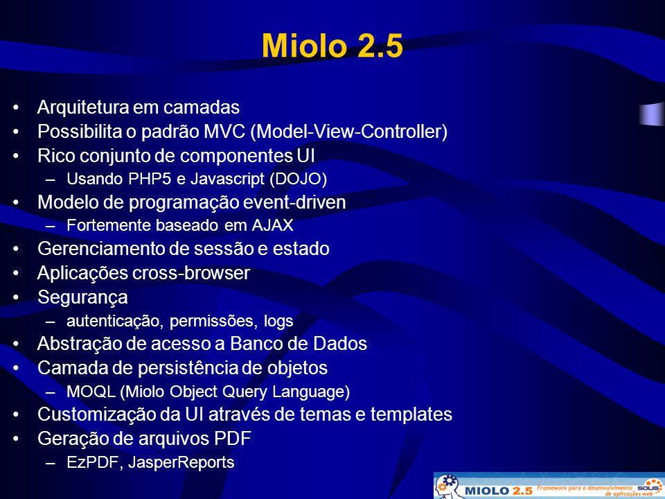 Miolo 2.5 •Arquitetura em camadas •Possibilita o padrão MVC (Model-View-Controller) •Rico conjunto de componentes UI –Usando PHP5 e Javascript (DOJO)