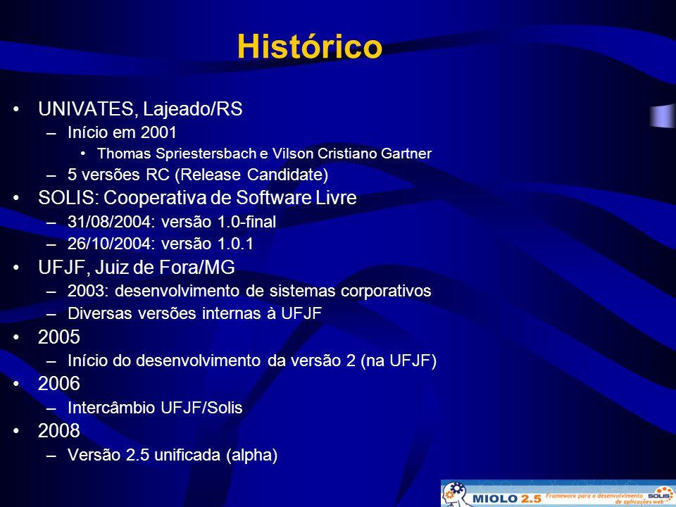 Histórico •UNIVATES, Lajeado/RS –Início em 2001 •Thomas Spriestersbach e Vilson Cristiano Gartner –5 versões RC (Release Candidate) •SOLIS: Cooperativ