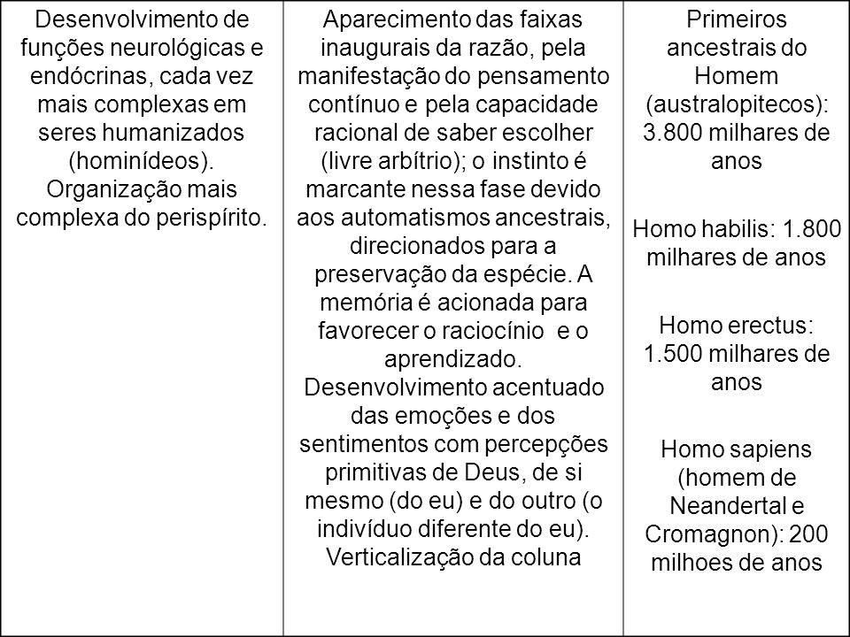 Desenvolvimento de funções neurológicas e endócrinas, cada vez mais complexas em seres humanizados (hominídeos). Organização mais complexa do perispír