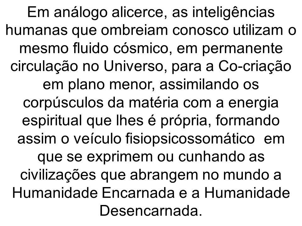 Em análogo alicerce, as inteligências humanas que ombreiam conosco utilizam o mesmo fluido cósmico, em permanente circulação no Universo, para a Co-cr
