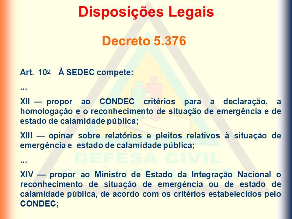 Art. 10 o À SEDEC compete:... XII — propor ao CONDEC critérios para a declaração, a homologação e o reconhecimento de situação de emergência e de esta