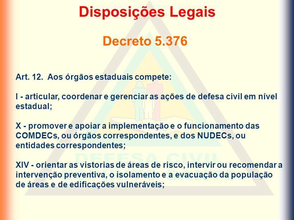 Decreto 5.376 Disposições Legais Art. 12. Aos órgãos estaduais compete: I - articular, coordenar e gerenciar as ações de defesa civil em nível estadua