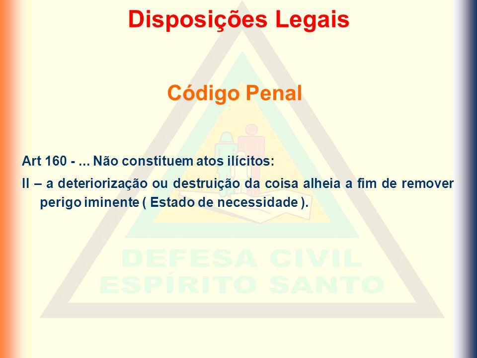 Código Penal Art 160 -... Não constituem atos ilícitos: II – a deteriorização ou destruição da coisa alheia a fim de remover perigo iminente ( Estado