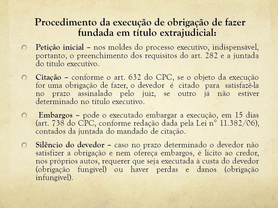 Procedimento da execução de obrigação de fazer fundada em título extrajudicial: Petição inicial – nos moldes do processo executivo, indispensável, por