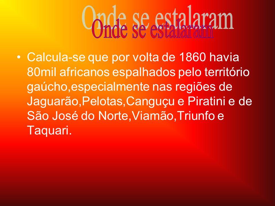 •C•Calcula-se que por volta de 1860 havia 80mil africanos espalhados pelo território gaúcho,especialmente nas regiões de Jaguarão,Pelotas,Canguçu e Pi