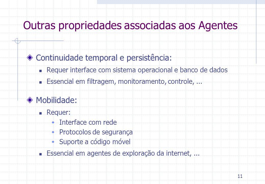 11 Outras propriedades associadas aos Agentes Continuidade temporal e persistência:  Requer interface com sistema operacional e banco de dados  Essencial em filtragem, monitoramento, controle,...