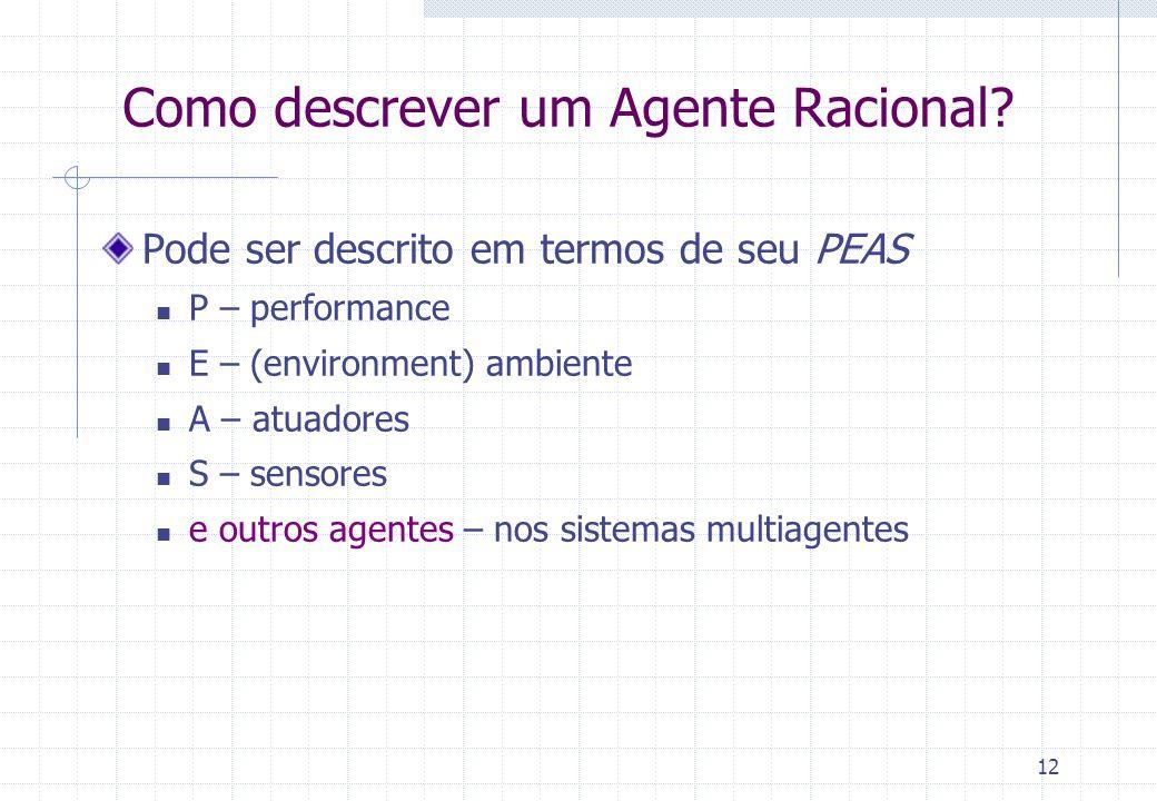 12 Como descrever um Agente Racional.