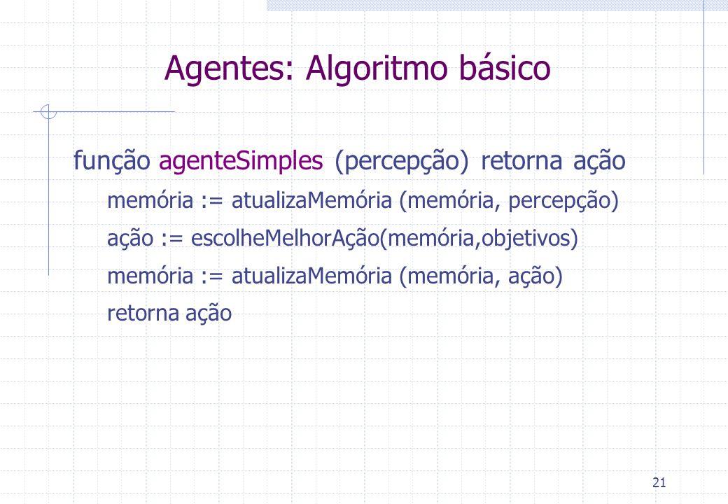 21 Agentes: Algoritmo básico função agenteSimples (percepção) retorna ação memória := atualizaMemória (memória, percepção) ação := escolheMelhorAção(memória,objetivos) memória := atualizaMemória (memória, ação) retorna ação