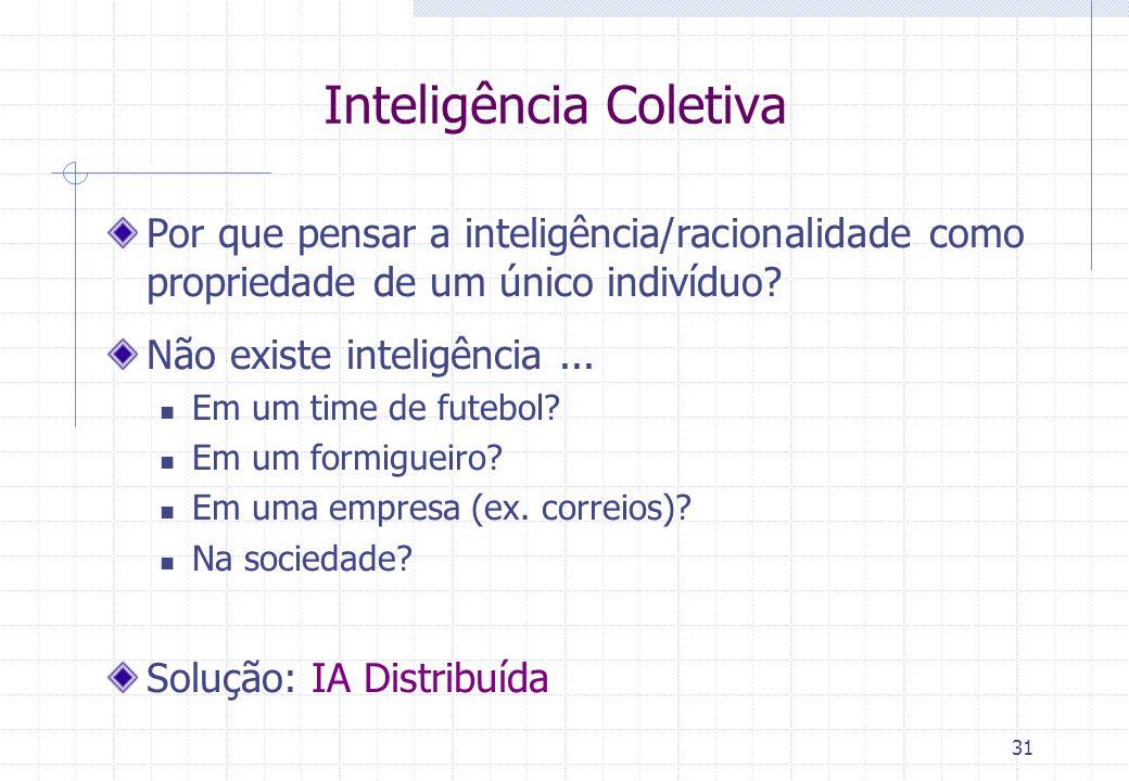 31 Inteligência Coletiva Por que pensar a inteligência/racionalidade como propriedade de um único indivíduo.