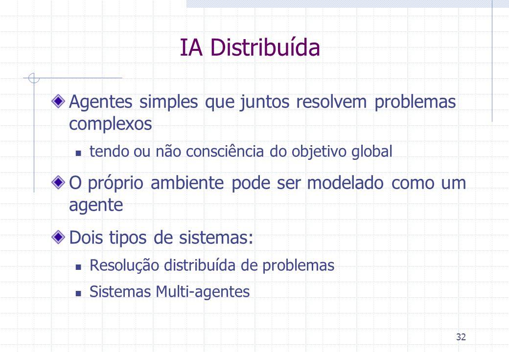 32 IA Distribuída Agentes simples que juntos resolvem problemas complexos  tendo ou não consciência do objetivo global O próprio ambiente pode ser modelado como um agente Dois tipos de sistemas:  Resolução distribuída de problemas  Sistemas Multi-agentes