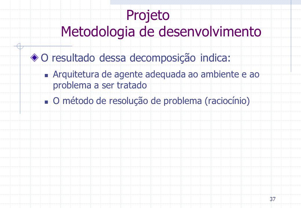 37 Projeto Metodologia de desenvolvimento O resultado dessa decomposição indica:  Arquitetura de agente adequada ao ambiente e ao problema a ser tratado  O método de resolução de problema (raciocínio)