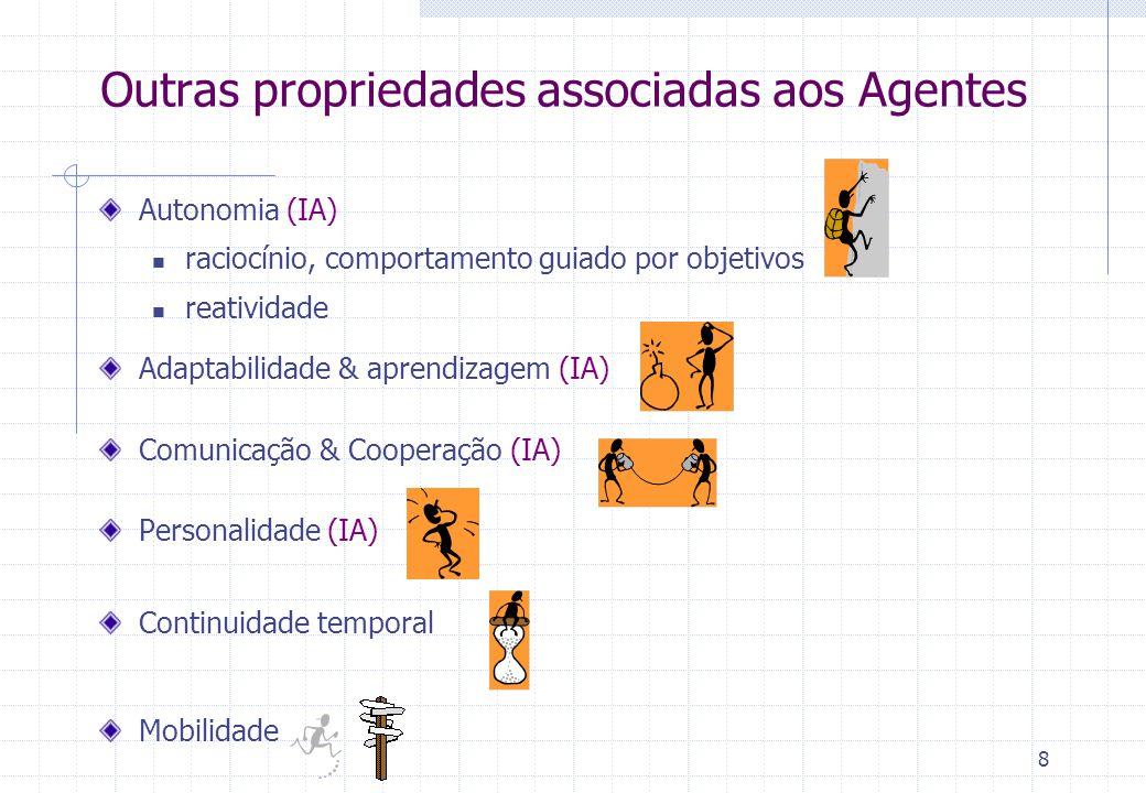 8 Outras propriedades associadas aos Agentes Autonomia (IA)  raciocínio, comportamento guiado por objetivos  reatividade Adaptabilidade & aprendizagem (IA) Comunicação & Cooperação (IA) Personalidade (IA) Continuidade temporal Mobilidade