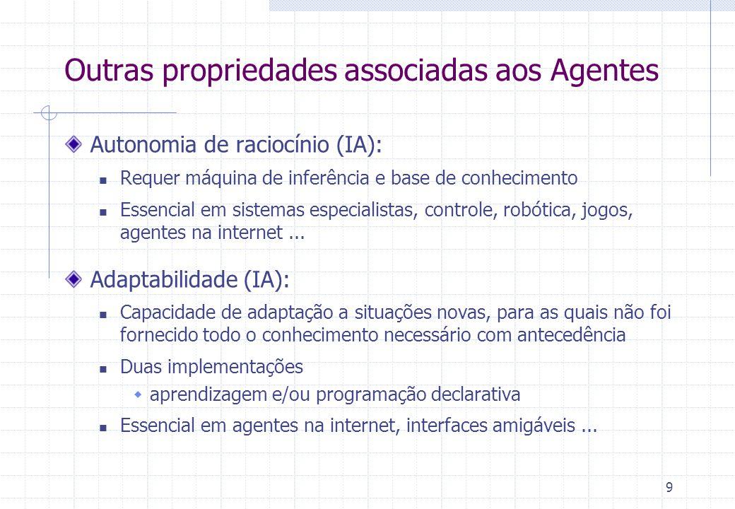 9 Outras propriedades associadas aos Agentes Autonomia de raciocínio (IA):  Requer máquina de inferência e base de conhecimento  Essencial em sistemas especialistas, controle, robótica, jogos, agentes na internet...