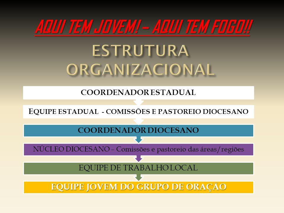 EQUIPE JOVEM DO GRUPO DE ORAÇÃO EQUIPE DE TRABALHO LOCAL NÚCLEO DIOCESANO – Comissões e pastoreio das áreas/regiões COORDENADOR DIOCESANO E QUIPE ESTADUAL - COMISSÕES E PASTOREIO DIOCESANO COORDENADOR ESTADUAL AQUI TEM JOVEM.