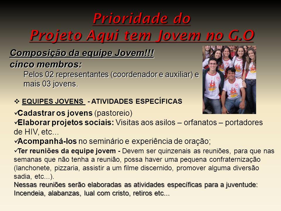  Cadastrar os jovens (pastoreio)  Elaborar projetos sociais: Visitas aos asilos – orfanatos – portadores de HIV, etc...