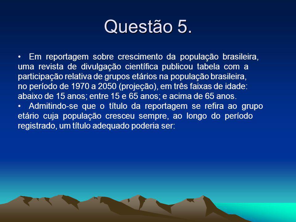 Questão 5. •Em reportagem sobre crescimento da população brasileira, uma revista de divulgação científica publicou tabela com a participação relativa