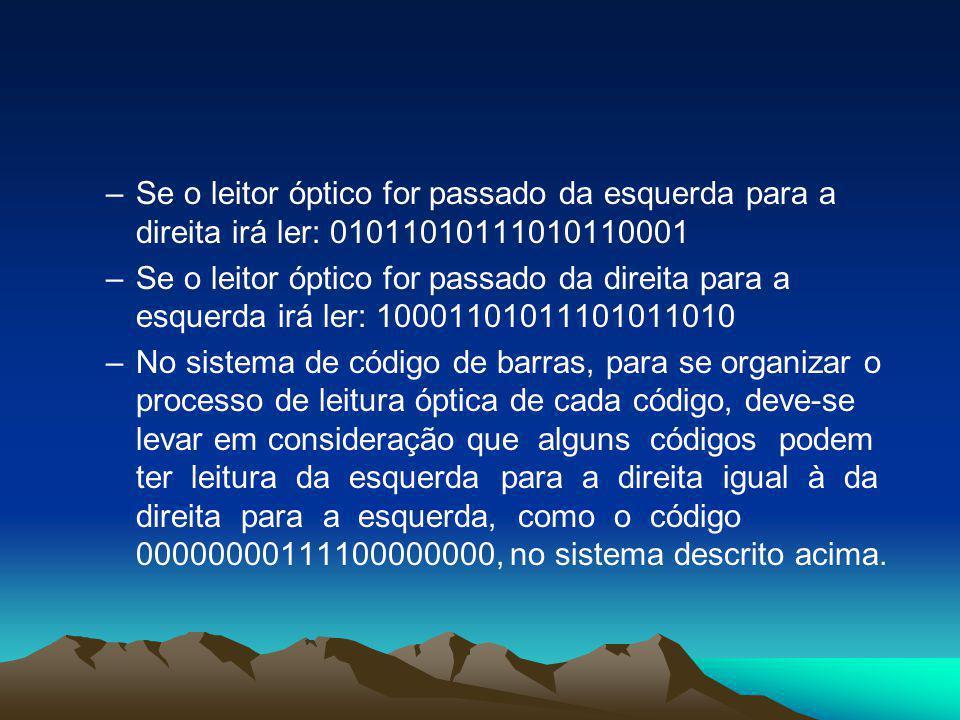 –Se o leitor óptico for passado da esquerda para a direita irá ler: 01011010111010110001 –Se o leitor óptico for passado da direita para a esquerda ir