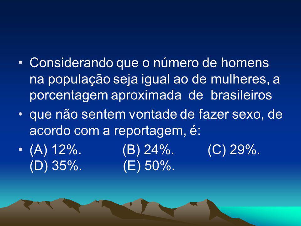 •Considerando que o número de homens na população seja igual ao de mulheres, a porcentagem aproximada de brasileiros •que não sentem vontade de fazer