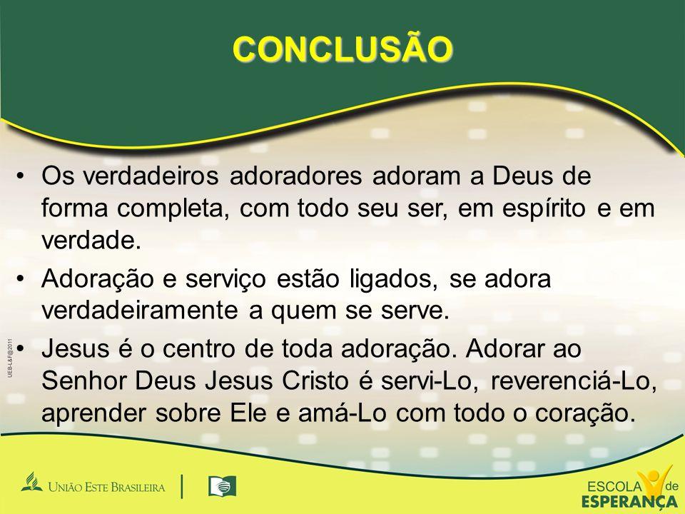 CONCLUSÃO •Os verdadeiros adoradores adoram a Deus de forma completa, com todo seu ser, em espírito e em verdade. •Adoração e serviço estão ligados, s