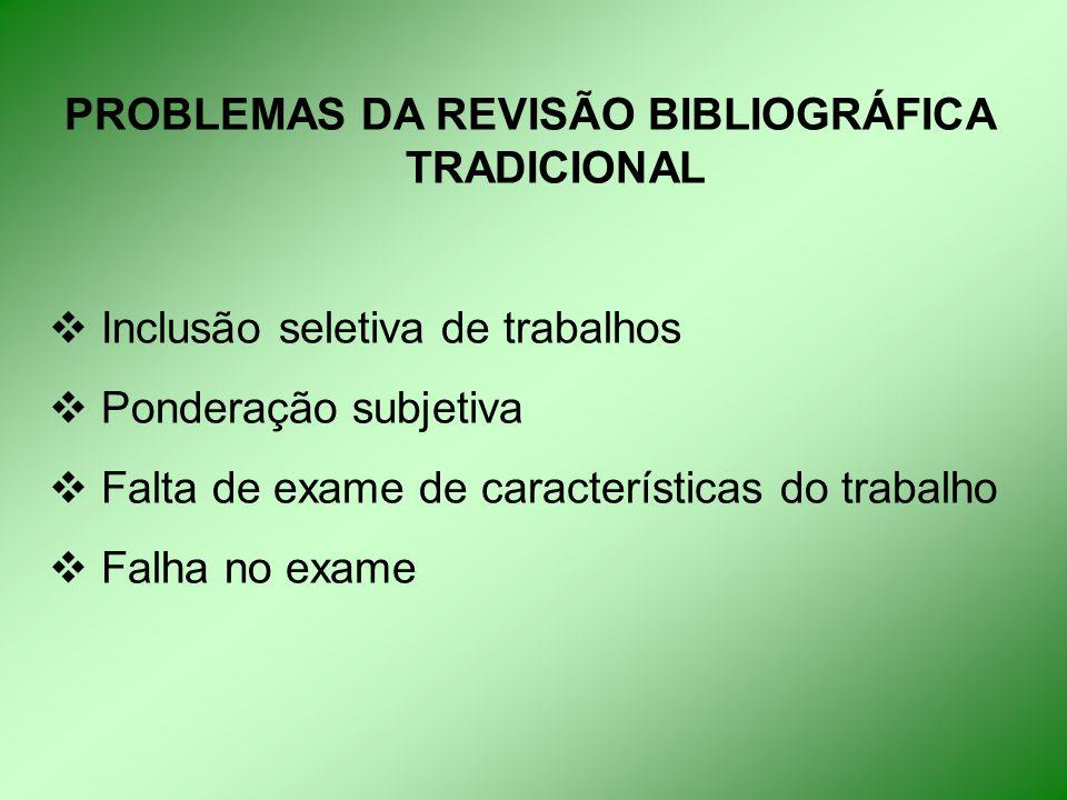 PROBLEMAS DA REVISÃO BIBLIOGRÁFICA TRADICIONAL  Inclusão seletiva de trabalhos  Ponderação subjetiva  Falta de exame de características do trabalho  Falha no exame