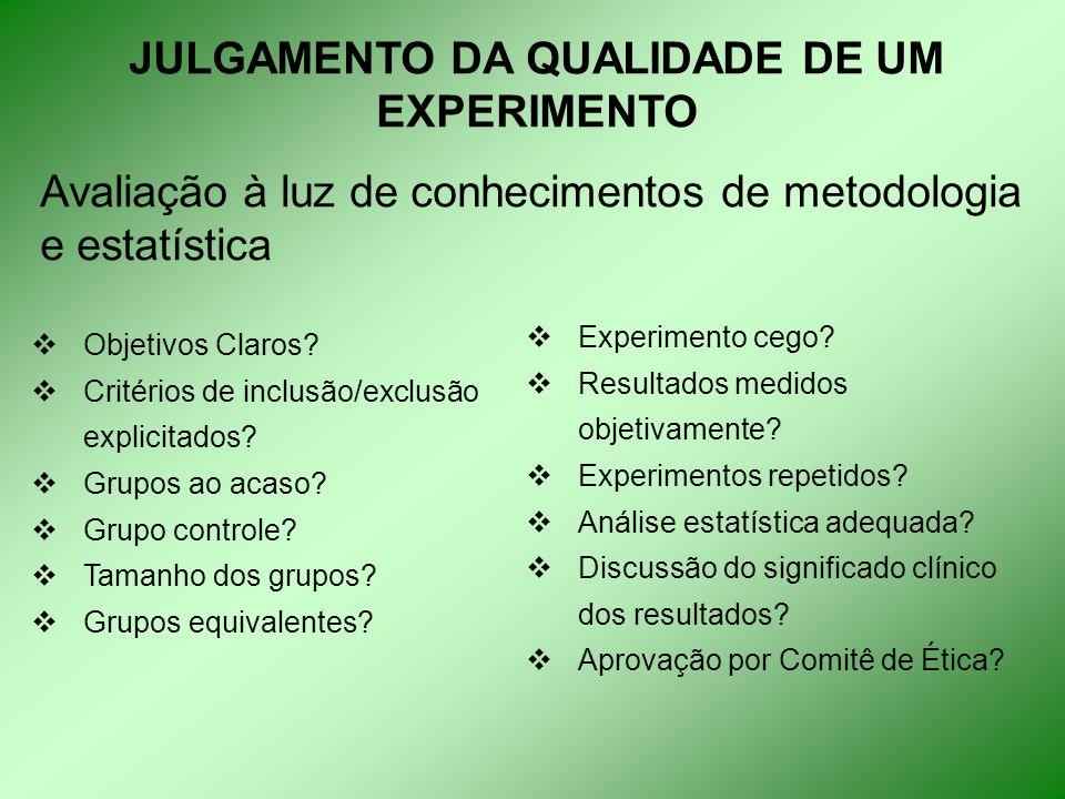 JULGAMENTO DA QUALIDADE DE UM EXPERIMENTO Avaliação à luz de conhecimentos de metodologia e estatística  Objetivos Claros.