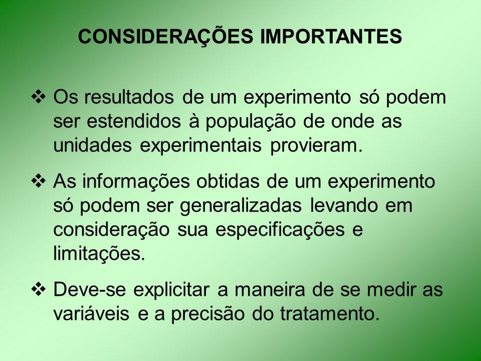 CONSIDERAÇÕES IMPORTANTES  Os resultados de um experimento só podem ser estendidos à população de onde as unidades experimentais provieram.