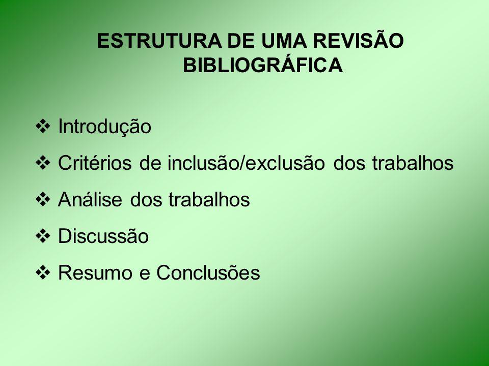 ESTRUTURA DE UMA REVISÃO BIBLIOGRÁFICA  Introdução  Critérios de inclusão/exclusão dos trabalhos  Análise dos trabalhos  Discussão  Resumo e Conclusões