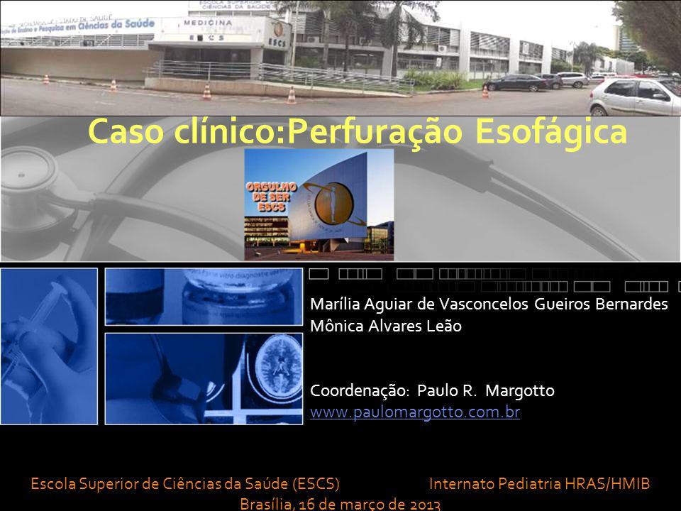 Caso clínico:Perfuração Esofágica Marília Aguiar de Vasconcelos Gueiros Bernardes Mônica Alvares Leão Coordenação: Paulo R.