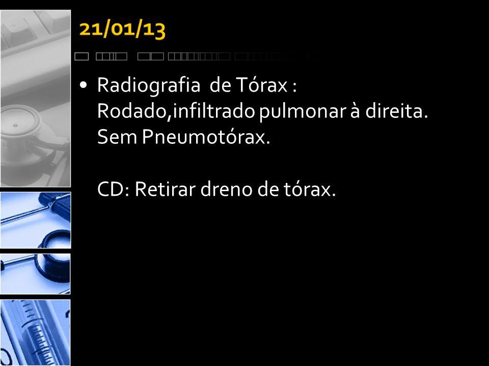•Radiografia de Tórax : Rodado,infiltrado pulmonar à direita.