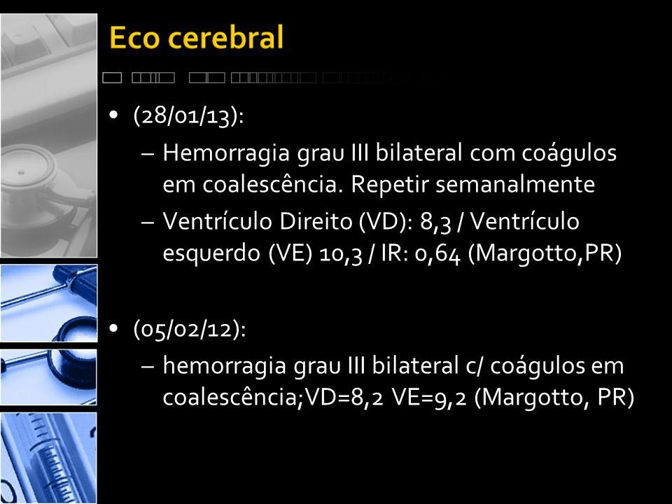 •(28/01/13): –Hemorragia grau III bilateral com coágulos em coalescência.