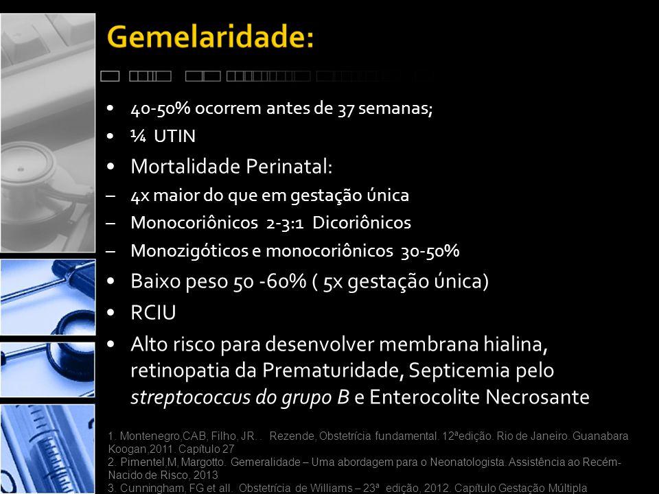 •40-50% ocorrem antes de 37 semanas; •¼ UTIN •Mortalidade Perinatal: –4x maior do que em gestação única –Monocoriônicos 2-3:1 Dicoriônicos –Monozigóticos e monocoriônicos 30-50% •Baixo peso 50 -60% ( 5x gestação única) •RCIU •Alto risco para desenvolver membrana hialina, retinopatia da Prematuridade, Septicemia pelo streptococcus do grupo B e Enterocolite Necrosante 1.
