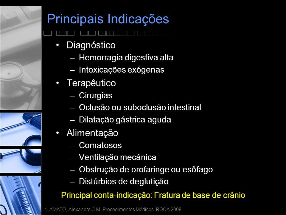 Principais Indicações •Diagnóstico –Hemorragia digestiva alta –Intoxicações exógenas •Terapêutico –Cirurgias –Oclusão ou suboclusão intestinal –Dilatação gástrica aguda •Alimentação –Comatosos –Ventilação mecânica –Obstrução de orofaringe ou esôfago –Distúrbios de deglutição Principal conta-indicação: Fratura de base de crânio 4.
