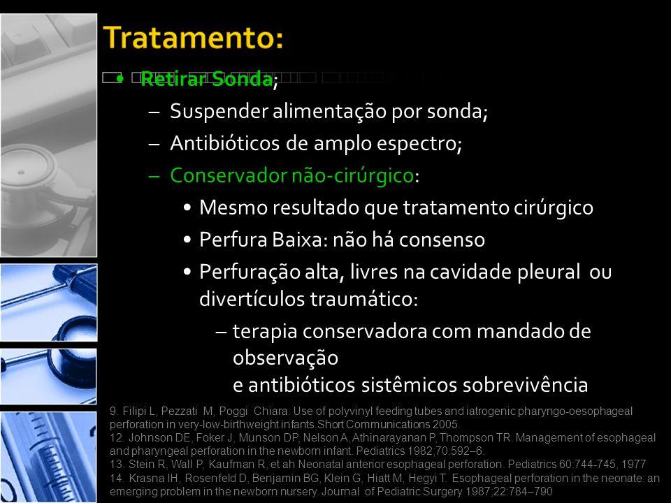•Retirar Sonda; –Suspender alimentação por sonda; –Antibióticos de amplo espectro; –Conservador não-cirúrgico: •Mesmo resultado que tratamento cirúrgico •Perfura Baixa: não há consenso •Perfuração alta, livres na cavidade pleural ou divertículos traumático: –terapia conservadora com mandado de observação e antibióticos sistêmicos sobrevivência 9.