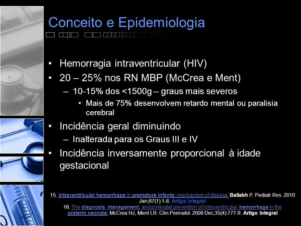 Conceito e Epidemiologia •Hemorragia intraventricular (HIV) •20 – 25% nos RN MBP (McCrea e Ment) –10-15% dos <1500g – graus mais severos •Mais de 75% desenvolvem retardo mental ou paralisia cerebral •Incidência geral diminuindo –Inalterada para os Graus III e IV •Incidência inversamente proporcional à idade gestacional 15.