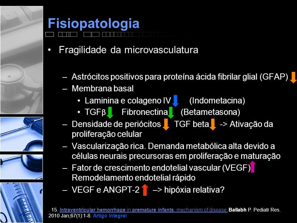 Fisiopatologia •Fragilidade da microvasculatura –Astrócitos positivos para proteína ácida fibrilar glial (GFAP) –Membrana basal •Laminina e colageno IV (Indometacina) •TGF β Fibronectina (Betametasona) –Densidade de periócitos TGF beta -> Ativação da proliferação celular –Vascularização rica.