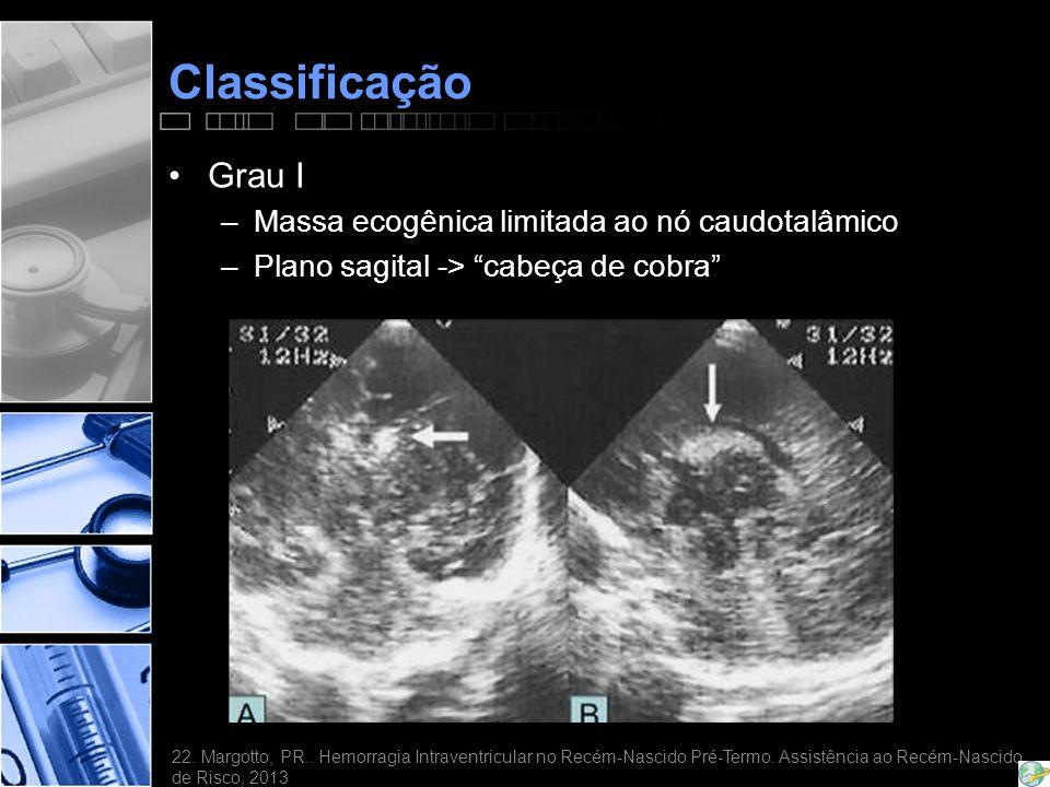 Classificação •Grau I –Massa ecogênica limitada ao nó caudotalâmico –Plano sagital -> cabeça de cobra 22.