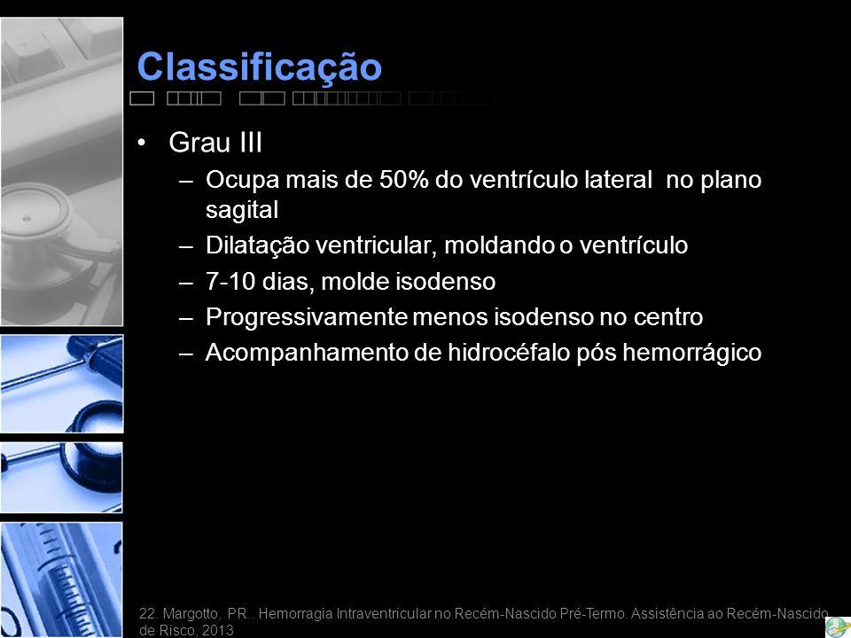 Classificação •Grau III –Ocupa mais de 50% do ventrículo lateral no plano sagital –Dilatação ventricular, moldando o ventrículo –7-10 dias, molde isodenso –Progressivamente menos isodenso no centro –Acompanhamento de hidrocéfalo pós hemorrágico 22.