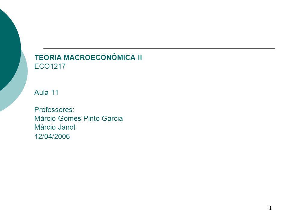 1 TEORIA MACROECONÔMICA II ECO1217 Aula 11 Professores: Márcio Gomes Pinto Garcia Márcio Janot 12/04/2006