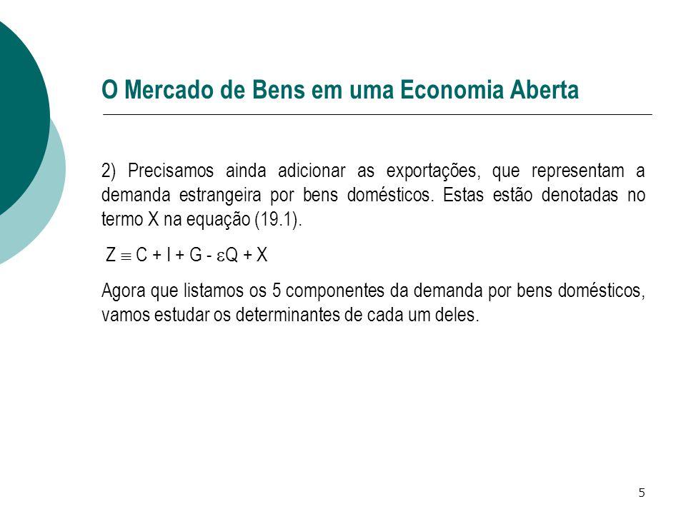 6 O Mercado de Bens em uma Economia Aberta Os determinantes de C, I e G Poucas alterações em relação à análise de uma economia fechada.