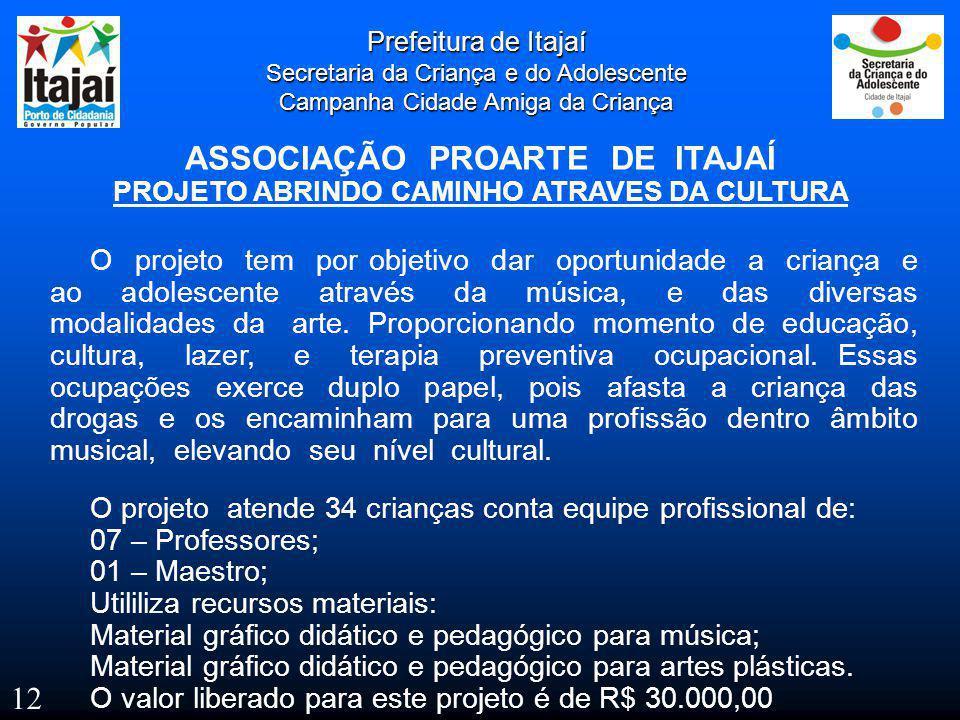 Prefeitura de Itajaí Secretaria da Criança e do Adolescente Campanha Cidade Amiga da Criança ASSOCIAÇÃO PROARTE DE ITAJAÍ PROJETO ABRINDO CAMINHO ATRA