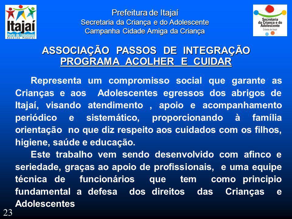 Prefeitura de Itajaí Secretaria da Criança e do Adolescente Campanha Cidade Amiga da Criança ASSOCIAÇÃO PASSOS DE INTEGRAÇÃO PROGRAMA ACOLHER E CUIDAR