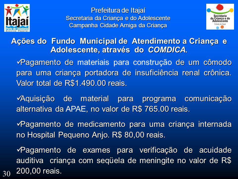  Pagamento de de um cômodo para uma criança portadora de insuficiência renal crônica. Valor total de R$1.490.00 reais.  Pagamento de materiais para