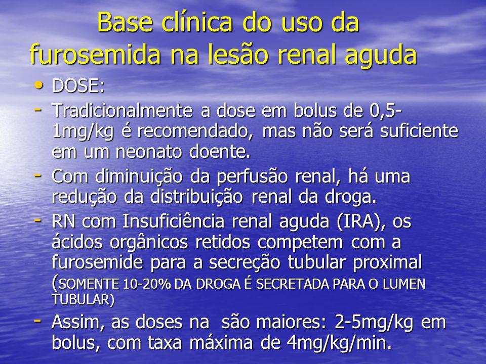 Base clínica do uso da furosemida na lesão renal aguda Base clínica do uso da furosemida na lesão renal aguda • DOSE: - Tradicionalmente a dose em bol